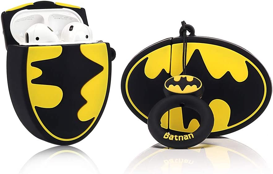 LEWOTE Airpods Carcasa de Silicona Compatible con Airpods de Apple 1 y 2 [Diseño de Dibujos][Niñas o Parejas] (Batman Badge)