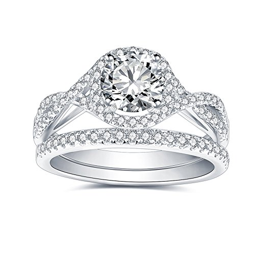 1.0 CT Center Moissanite F-G Colorless Simulated Diamond 14K White Gold Halo Twist Band Engagement Bridal Ring Set(4)