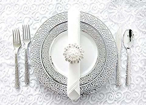 Royalty Settings Silver Inspiration Collection Lace Plastic Plates and Plastic Cutlery for 120 Persons, Includes 120 Dinner Plates, 120 Salad Plates, 240 Forks, 120 Knives, 120 Spoons, 60 - Silver Wedding Collection