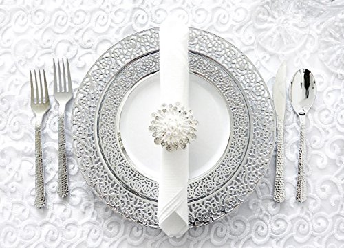 Royalty Settings Silver Inspiration Collection Lace Plastic Plates and Plastic Cutlery for 120 Persons, Includes 120 Dinner Plates, 120 Salad Plates, 240 Forks, 120 Knives, 120 Spoons, 60 Teaspoons (Plate Silver Offering)