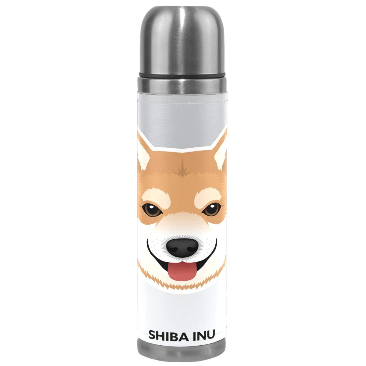 Wamika Cute Dog Pattern Vacuum Insulated Stainless Steel Water Bottle, Shiba Inu Puppy Funny Pets Animals Sports Coffee Travel Mug Thermos Cup Genuine Leather Cover Double Walled BPA Free 17 OZ