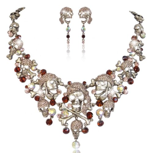 (EVER FAITH Austrian Crystal Vintage Style Cross Pirate Skull Necklace Earrings Set Brown)