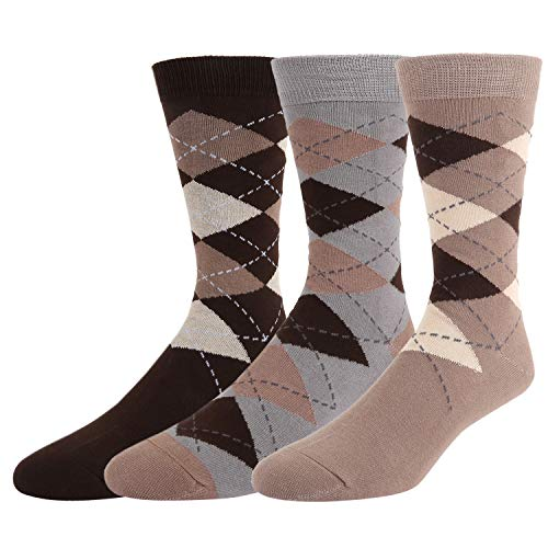 Men's Brown Argyle Dress Trouser Cotton Socks Colorful Diamond Patterned Funky Cotton Crew Casual Socks 3 Pack