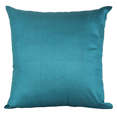The White Petals Set of 2 Teal Art Silk Pillow Covers, Plain Silk Cushion Cover, Solid Color Teal Throw Pillow, (18x18 inches, Teal)