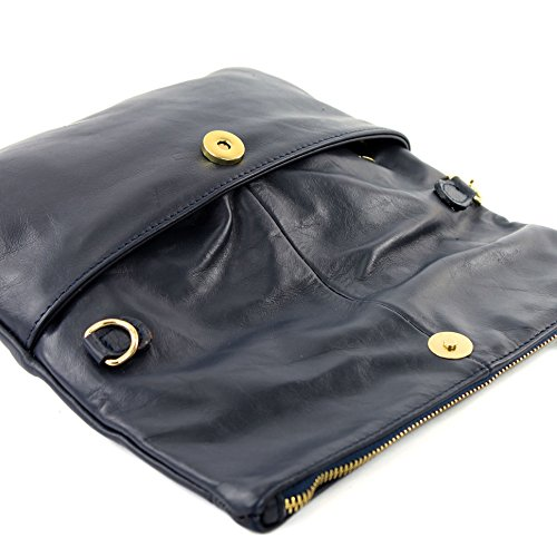 modamoda bolso mano bandolera piel gamuza T54KR de Dunkelblau Bolso de en ital croco rIrHq01