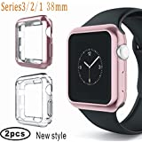 Case For Apple Watch 38mm, Plated Soft TPU Protective Cover Shock Absorption fit iwatch Apple Series 3,Series 2, Series 1, Nike+, Sport, Edition (Rose gold+Clear)