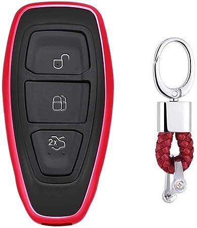 Imagen deRojo Funda de TPU Suave para Llave + Llavero para Coche Ford Mondeo Focus 3 MK3 ST Kuga Fiesta Escape Ecosport Titanium