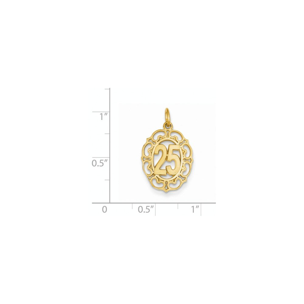 14k Gold # 25 in Oval Pendant 0.98 in x 0.55 in