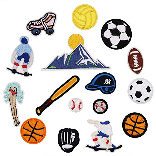 Big Applique - 16pcs Ball Sports Equipment Iron on Patches Embroidered Motif Applique Decoration Sew On Patches Custom Patches for DIY Jeans, Jacket,Kid's Clothing, Bag, Caps, Arts Craft Sew Making (Sports 16pcs)