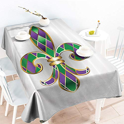 Jinguizi Oil-Proof Spill-Proof Gold Colored Lily Symbol with Diamond Shapes Royalty Theme Ancient Artfor Spring/Summer TableclothGold Purple Green(52 by 70 Inch Oblong Rectangular)