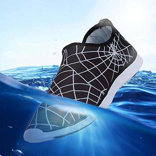 Z-joyee Herren Barfuß Schnell Trocknende Aqua Wasserschuhe Spinne Schwarz