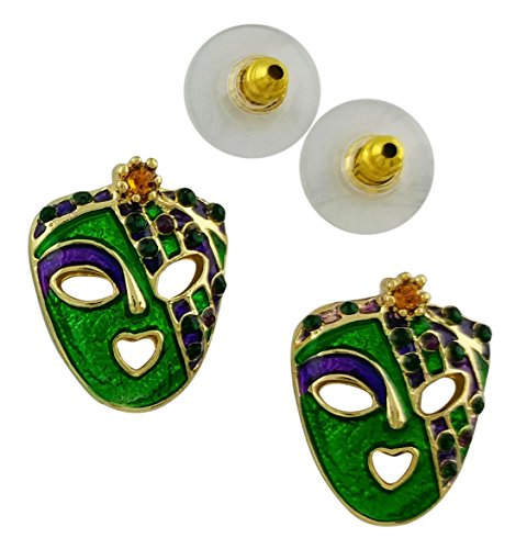 (Mardi Gras Mask Post Earrings | Gold Plated Gold, Green and Purple with)