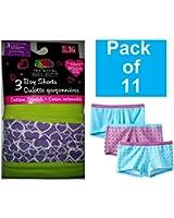 Fruit of the Loom Big Girls' Boyshort Underwear(Pack of 11)