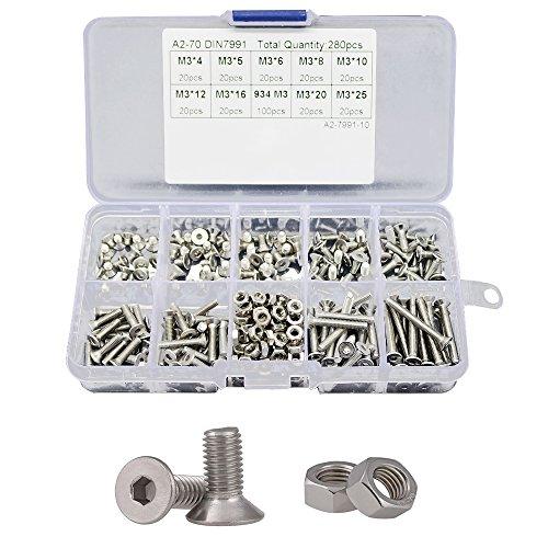 - Adiyer 280 Pcs Metric M3 x 4/5/6/8/10/12/16/20/25mm Countersunk Flat Head Hex Socket Cap Screws Nuts Set Assortment Kit, 304 Stainless Steel