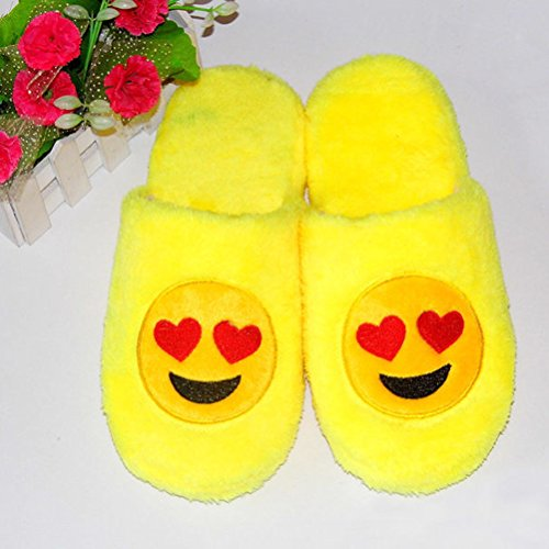 LUOEM Coeur Chaussons Amour Doux Peluche Homme Coton Chauds Antidérapant Smiley Chaussons Hiver Pantoufle Femme Jaune Jaune rxOpwrXq