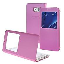 MEIRISHUN Cellphone Case Protective Case,Unique Big View Window Folio Case Flip Cover for Samsung Galaxy S6 edge+ [Magenta]