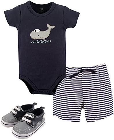 Hudson Baby Baby-Boys' Bodysuit, Bottoms and Shoes Set