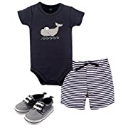 Hudson Baby Cotton Bodysuit, Bottoms and Shoe Set, Sailor Whale, 6-9 Months