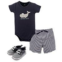 Hudson Baby Baby -Boys' 3 Piece Bodysuit, Short, Shoe Set, Sailor Whale, 6-9 ...