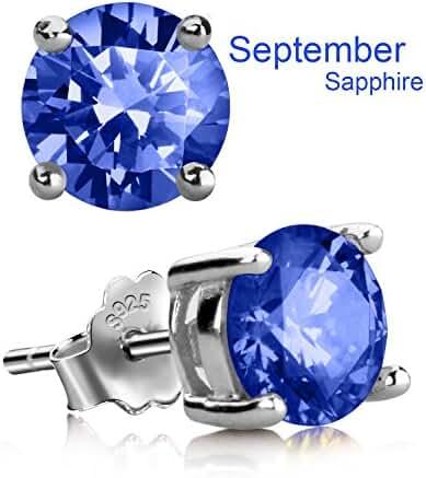 Stud Earrings, UHIBROS Hypoallergenic Silver Ear Stubs Birthstone Round Cubic Zirconia Diamond Earrings