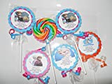 12 Disney Frozen Theme Hard Candy Whirly Pops Swirl Lollipops with Tags Anna Elsa Olaf Birthday Party Favor Pops
