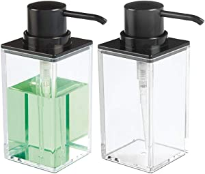 mDesign Square Plastic Refillable Liquid Soap Dispenser Pump Bottle for Bathroom Vanity Countertop, Kitchen Sink - Holds Hand Soap, Dish Soap, Hand Sanitizer, Essential Oils - 2 Pack - Clear/Black