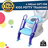 EGREE Potty Training Toilet Seat with Step Ladder for Kids and Toddler Boys Girls - Soft Padded Seat with Foldable Wide Step and Safety Handles - Blue and Purple