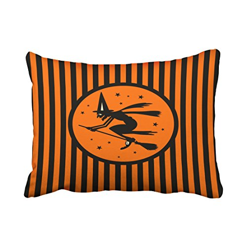 Accrocn Vintage Halloween Witch On Broom Pillow Covers Cushion Cover Case 20X26 Inches Pillowcases One Sided