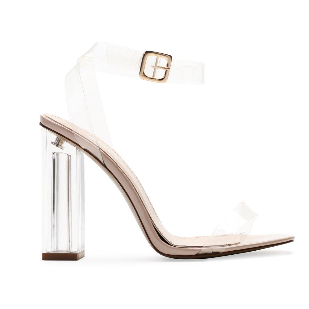 3268d2f3c82 Amazon.com   Public Desire Womens Alia Strappy Perspex High Heels ...