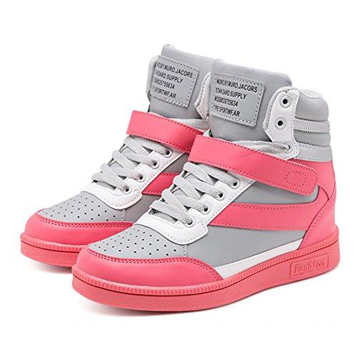 happygo! Zapatillas de Cuña Mujer Deportivos Elevador Interior Talón Plataforma 7cm Altas Para Tacón Zapatillas de Deporte Rosado-Gris