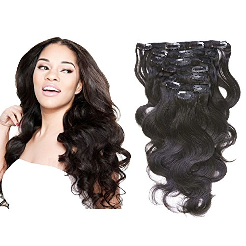 (Loxxy Real Remy Human Hair Extensions Clip in Body Wave Top 8A Grade Seamless Virgin Hair For Full Head Double Wefts Natural Black For Fashion African Americans,10-22inch 120G per set 18 Inch)