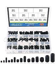 Glarks 450Pcs M3/M4/M5/M6/M8 Allen Head Socket Set Screw, 12.9 Class Black Alloy Steel Internal Hex Drive Grub Screw Assortment Kit