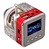 GenLed TT-028 MP3 Mini Digital Portable Music Player USB FM Radio (Red)
