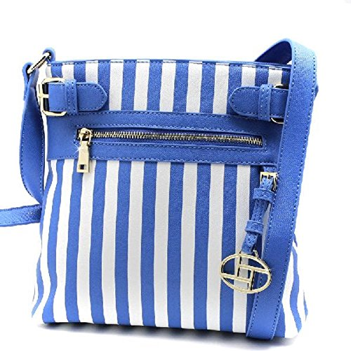 Blue Striped Messenger Bag - Soft Colored Striped Messenger Bag (Blue/White)