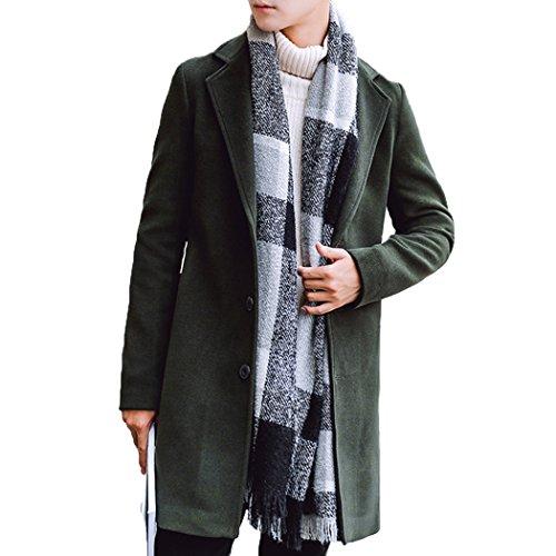 Armé Slim Couleur Classique De Mi Hiver Casual Laine Hanmax Automne Trench Unie Manteau Coat Vert Homme longue qzwUpxaXAB