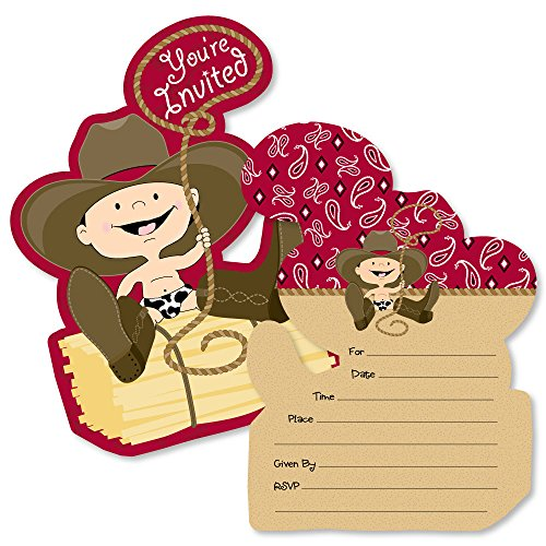 Little Cowboy - Shaped Fill-in Invitations - Western Baby Shower or Birthday Party Invitation Cards with Envelopes - Set of 12 -