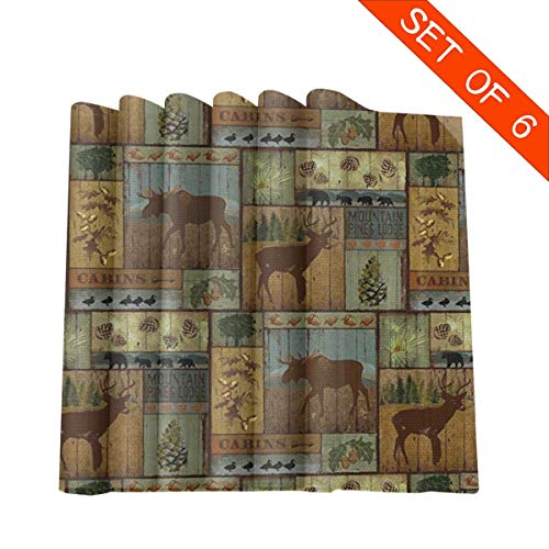 Placemat Set of 6 Nature Rustic Mountain Pines Lodge Bear Placemats for Dining Table Kitchen Decoration Table Mats 12 X 12 Inches -