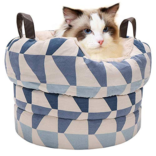 EMME Portable Pet Bed Extra Soft Faux Fur Donut Cuddler for Dog & Cat Pet Carrier Travel Bed with Triangular Pattern (Pet Carrier Pattern)