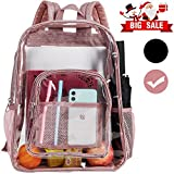 Clear Backpack, Heavy Duty See Through Backpack, 16' Transparent Large Backpack for College-Pink