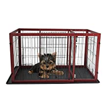 PawHut Large Wooden Iron Expandable Pet Dog Crate Cage with Divider Dark Red 57.1-inchL x 29.1-inchW x 27.6-inchH