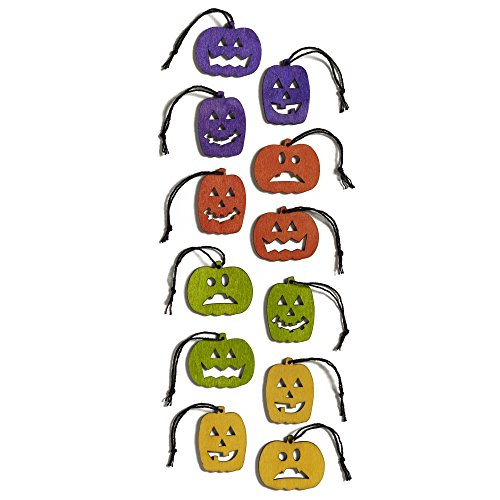 Design Ideas Salem Jack-O-Lantern Ornaments Set of 24 Plywood Decorative Ornaments -