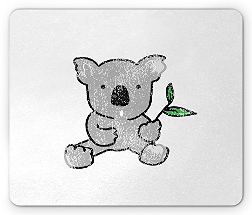 Koala Mouse Pad by Lunarable, Baby Bear with a Couple of Leaves in Its Hand Cartoon Style Drawing, Standard Size Rectangle Non-Slip Rubber Mousepad, Pale Grey Fern Green - Grey Fern &