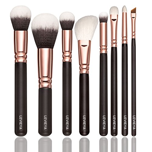 8 Pics Makeup Brushes Set - Foundation Brushes, Cosmetic Brushes, Professional Brushes for Face Make-up, Contour Brushes, Concealer Brushes, Lip brushes, Eye Shadow Brushes with Travel - Gold Set Pics