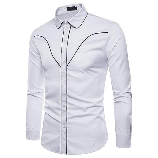 Qiusa Camisas Casuales para Hombre Top de Manga Larga Casual Slim ...