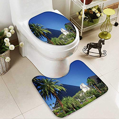 Analisahome U-shaped Toilet Mat-Soft Luxor hotel casino on Las Vegas strip 2 Piece Toilet Toilet mat