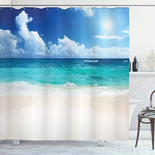 Ambesonne Ocean Decor Collection, Paradise Beach in Caribbean Sea with Exotic Tropical Sky Sun Calm Hot Dreams Space, Polyester Fabric Bathroom Shower Curtain, 84 Inches Extra Long, Cream Turquoise (Fabric Collection Paradise)