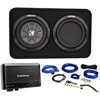 Kicker 43TCWRT82 COMPRT8 8 600W Loaded Shallow Subwoofer+Box+Amplifier+Amp Kit