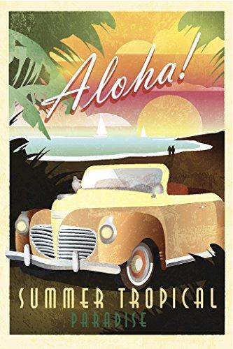 Aloha Summer Tropical Paradise Hawaiian Art Deco Travel Art Print Poster 12x18 inch