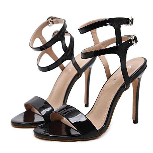 del XIE Alto Fiesta 6 L Club Dedo Hebilla Mirar Zapatos 39 UK nocturno Negro Mujer pie Estilete 6 Correa furtivamente Vestir EUR 5 Tobillo Trabajo Tacón Sandalias OdTwd4Ixn