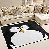ALAZA Black Penguin Face Emoji Area Rug Rugs for Living Room Bedroom 5'3 x 4′ For Sale